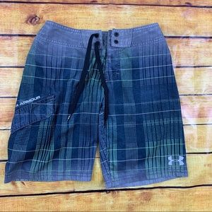 Boys under armour plaid swim shorts trunks size 8